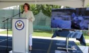 Ambassador Cormack speaks at the air monitoring launch event in Sarajevo